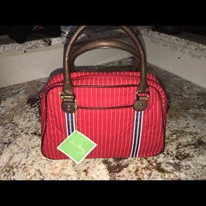 Vera Bradley Convertible Bowler Bag Red/White